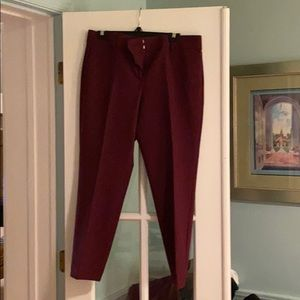Ann Taylor Kate fit ankle pant - burgundy